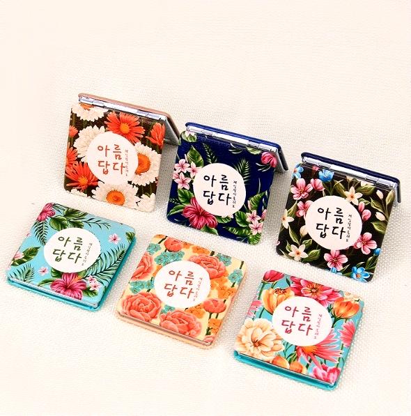 Карманное зеркало «Korean Flora» (разные цвета)