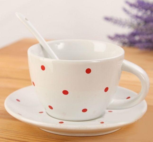 Чашка с блюдцем и ложкой «Ribbon Dots» - White